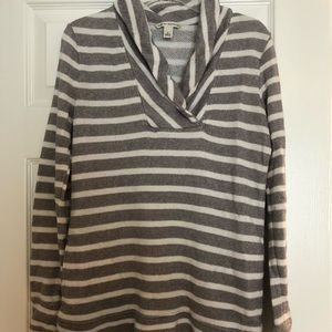 soft grey and white stripe pullover